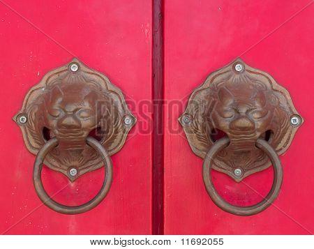 Lion Head Door Handle At A Temple Door
