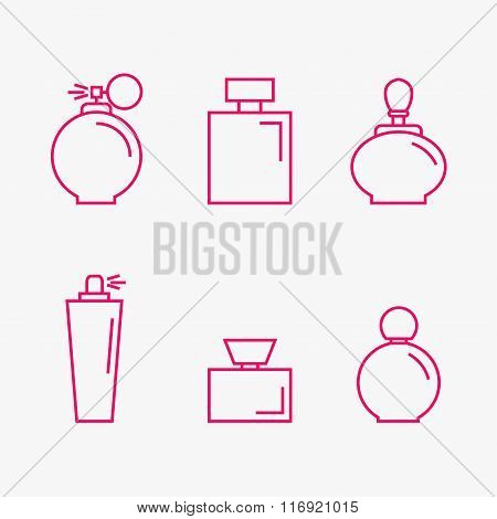 Perfume isolated icons on background.