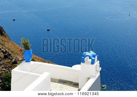 The Sea View Terrace And Aegean Sea, Santorini Island, Greece