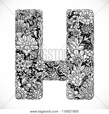 Doodles Font From Ornamental Flowers - Letter H. Black And White
