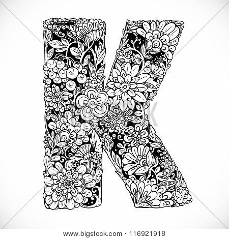 Doodles Font From Ornamental Flowers - Letter K. Black And White