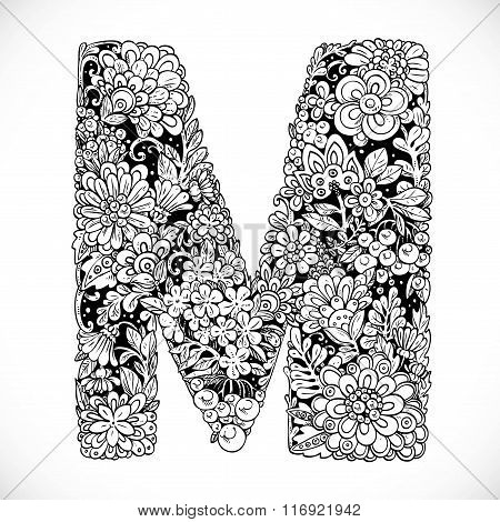 Doodles Font From Ornamental Flowers - Letter M. Black And White