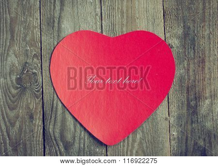 Valentine Red Paper On Wooden Boards.
