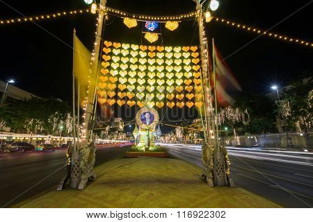 King Bhumibol Picture And Light Decoration