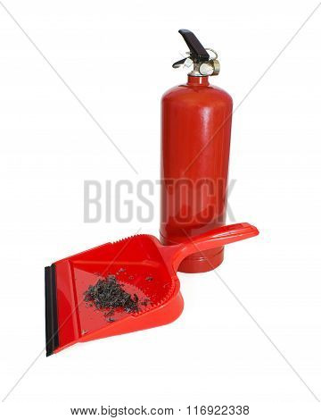 Scoop With Ashes And Fire Extinguisher On White Background