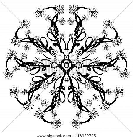 Vector Beautiful Deco Black Floral Mandala