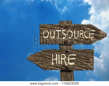Outsource or Hire Old Wood Directional Signs