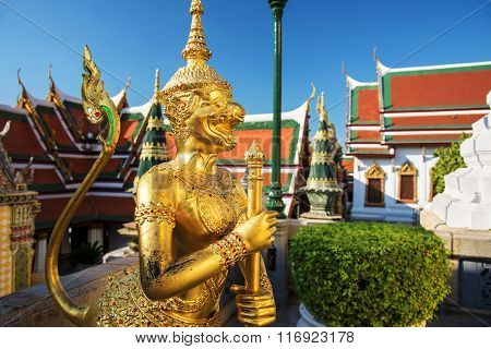 Golden Demon Guardian At Wat Phra Kaew, Bangkok