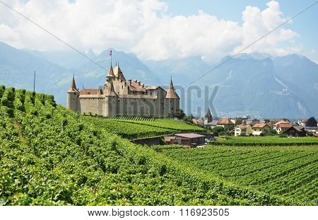 Chateau d'Aigle among vineyards. Switzerland