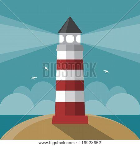 Flat cartoon lighthouse