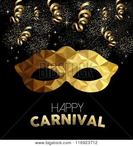Carnival Design With Gold Mask And Party Elements