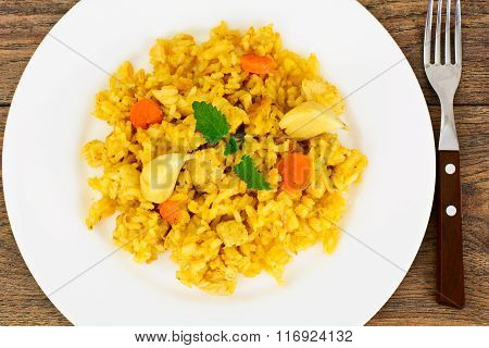 Healthy Food: Pilaf with Meat and Rice.