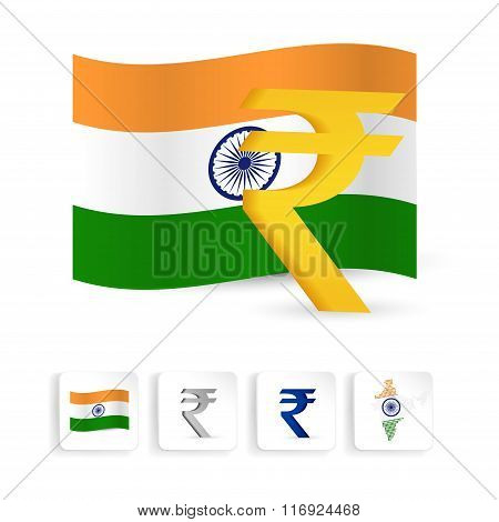 Indian Rupee Sign Symbol With India Flag. Vector Illustration.