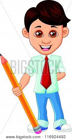vector illustration of Businessman with pencil isolated on white