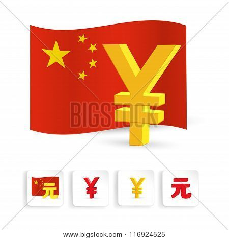 Yuan symbol with chinese flag. Vector illustration