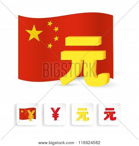 China Yuan graphic sign symbol with chinese flag.
