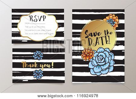 Trendy Card With Succulent For Weddings, Save The Date Invitation, Rsvp And Thank You