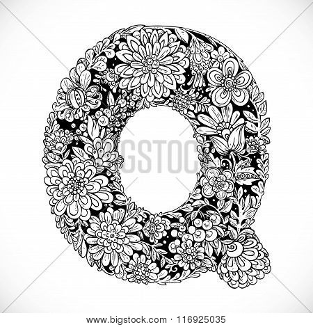 Doodles Font From Ornamental Flowers - Letter Q. Black And White