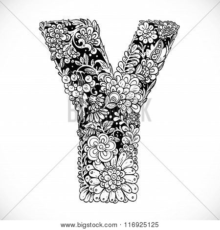 Doodles Font From Ornamental Flowers - Letter Y. Black And White