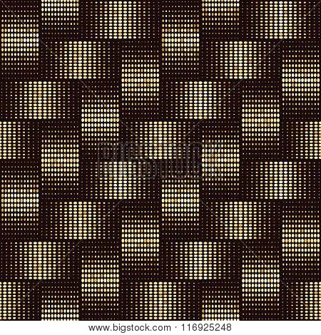 Seamless background of interwoven tapes with the effect of gold