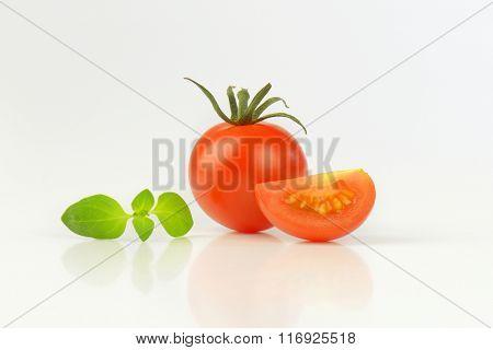 fresh tomatoes on white background