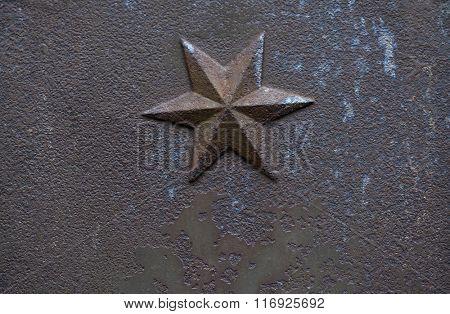 Iron cast hexagram. Decorative architectural element.