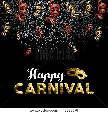 Happy Carnival Low Poly Gold Mask With Confetti