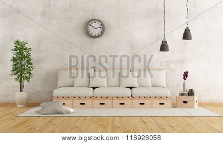 White Living Room In Rustic Style