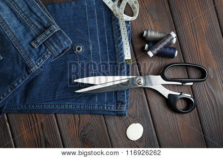 Jeans With Dressmaking Sewing Utensils Needlework