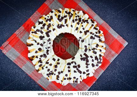 Curd Cake with White Icing and Chocolate