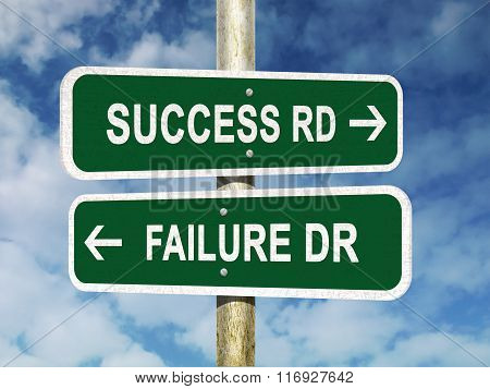 Success or Failure Road Sign