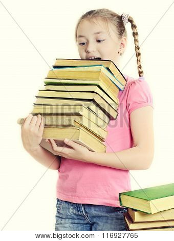 Girl Holding Many Textbooks