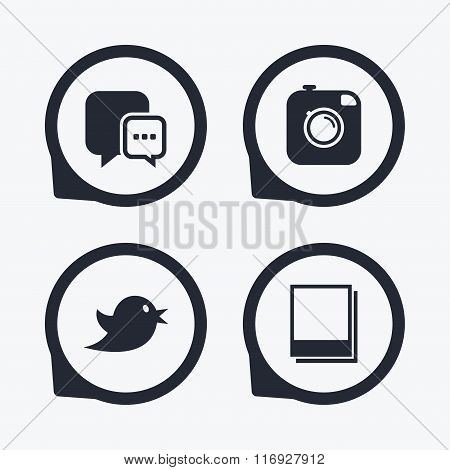 Social media. Chat speech bubble. Photo frames.