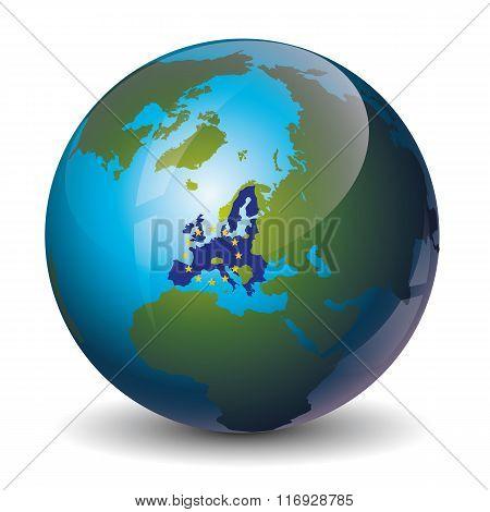 Europe on Globe icon