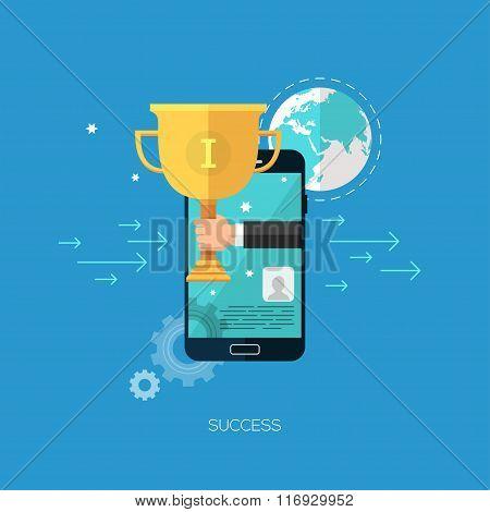 Flat seo business vector mobile concept design