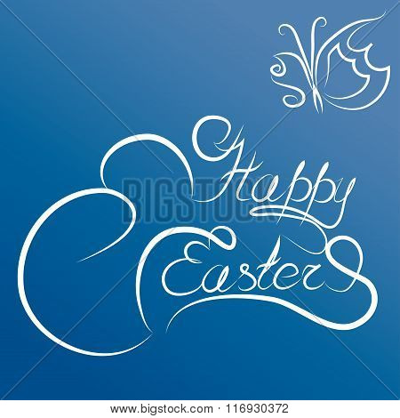 Happy Easter Handwriting Text And Butterfly