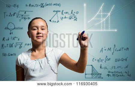 School girl draw on screen