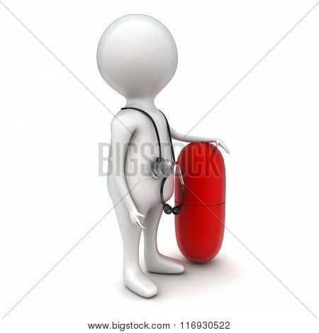 3D Man Wearing Stethoscope And Presenting Medicine Concept