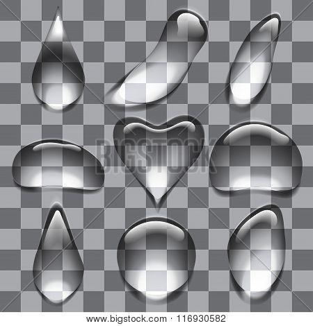Set of transparent bubbles drops
