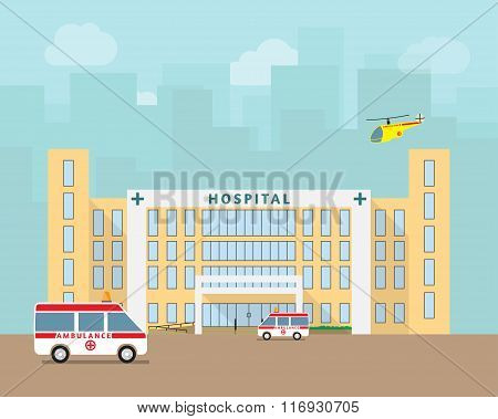 City hospital building with ambulance and helicopter