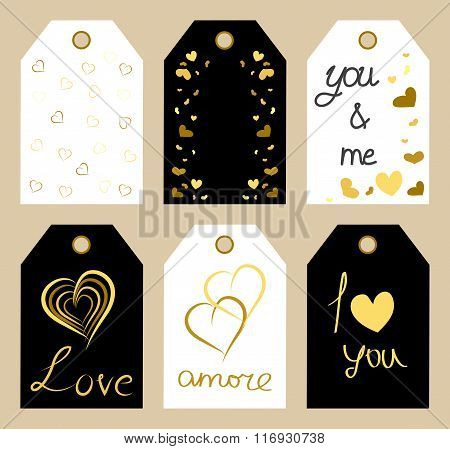 Set Of Valentine's Day Labels With Gold