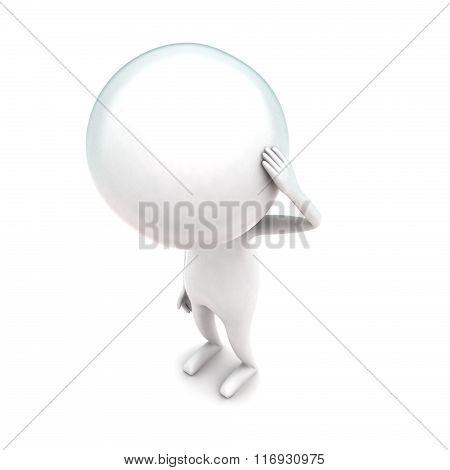 3D Man Having Headache Concept