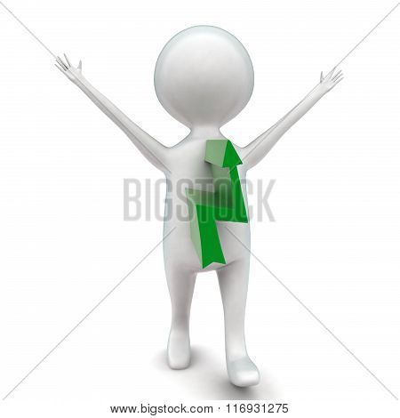 3D Man With Upward Arrow Projected From His Body Concept