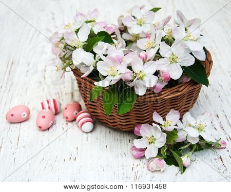 Basket With Blossom And Easter Eggs