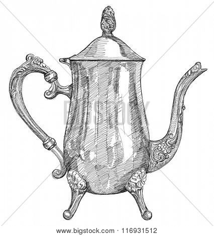 silver teapot - vector black and white illustration