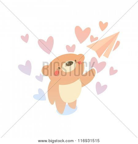 Valentine card Teddy bear and paper plane