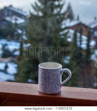 Coffee In A Cup On Balcony