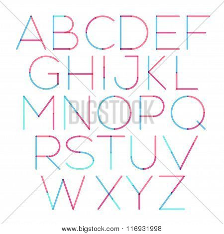 Vector thin font with round and soft strokes