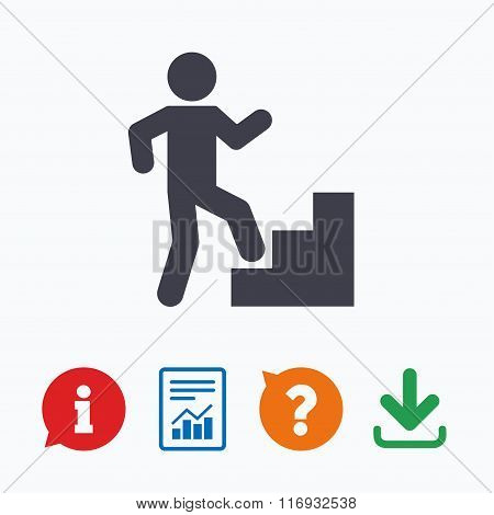 Upstairs icon. Human walking on ladder sign.