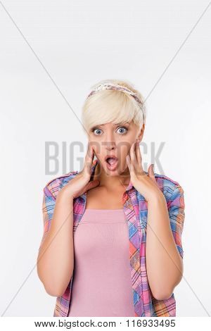 Beautiful Young Woman With Short Hair Is Surprised